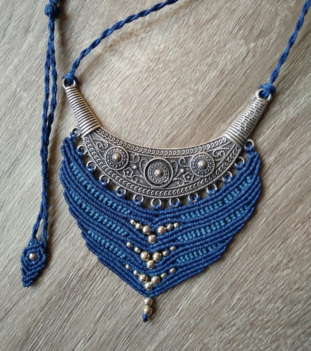 Makrame ogrlica 'Classic blue'